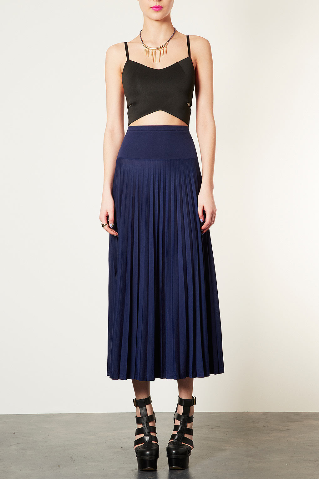 Topshop High Waist Pleated Maxi Skirt in Blue | Lyst