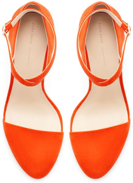 Zara High Heel Vamp Shoe With Ankle Strap In Orange Lyst
