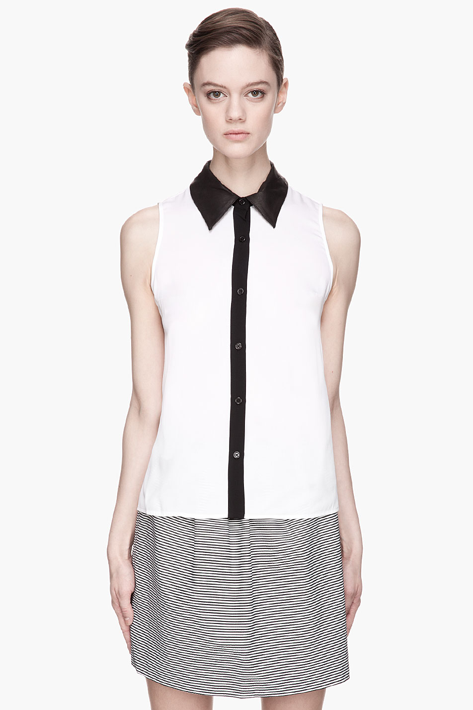 3c85a435890ff Lyst - Alice + Olivia Leather Collar Loira Blouse in White