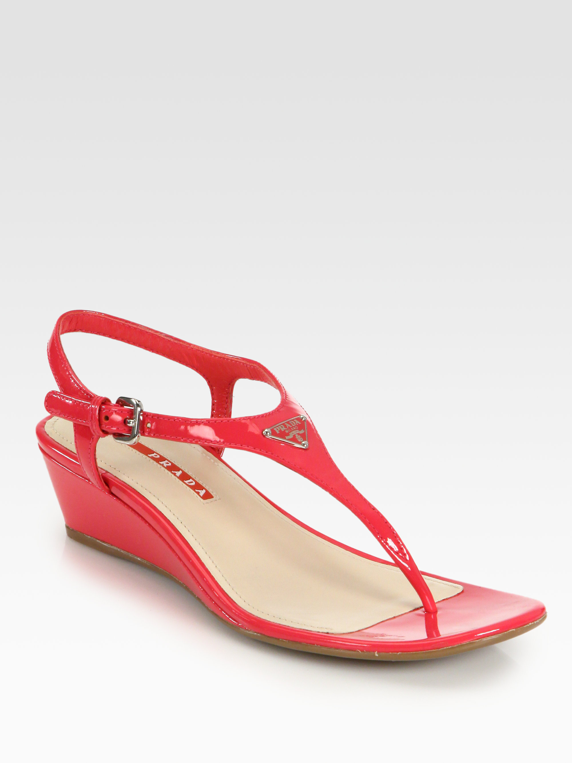 331617736c0f Lyst - Prada Patent Leather Thong Wedge Sandals in Red