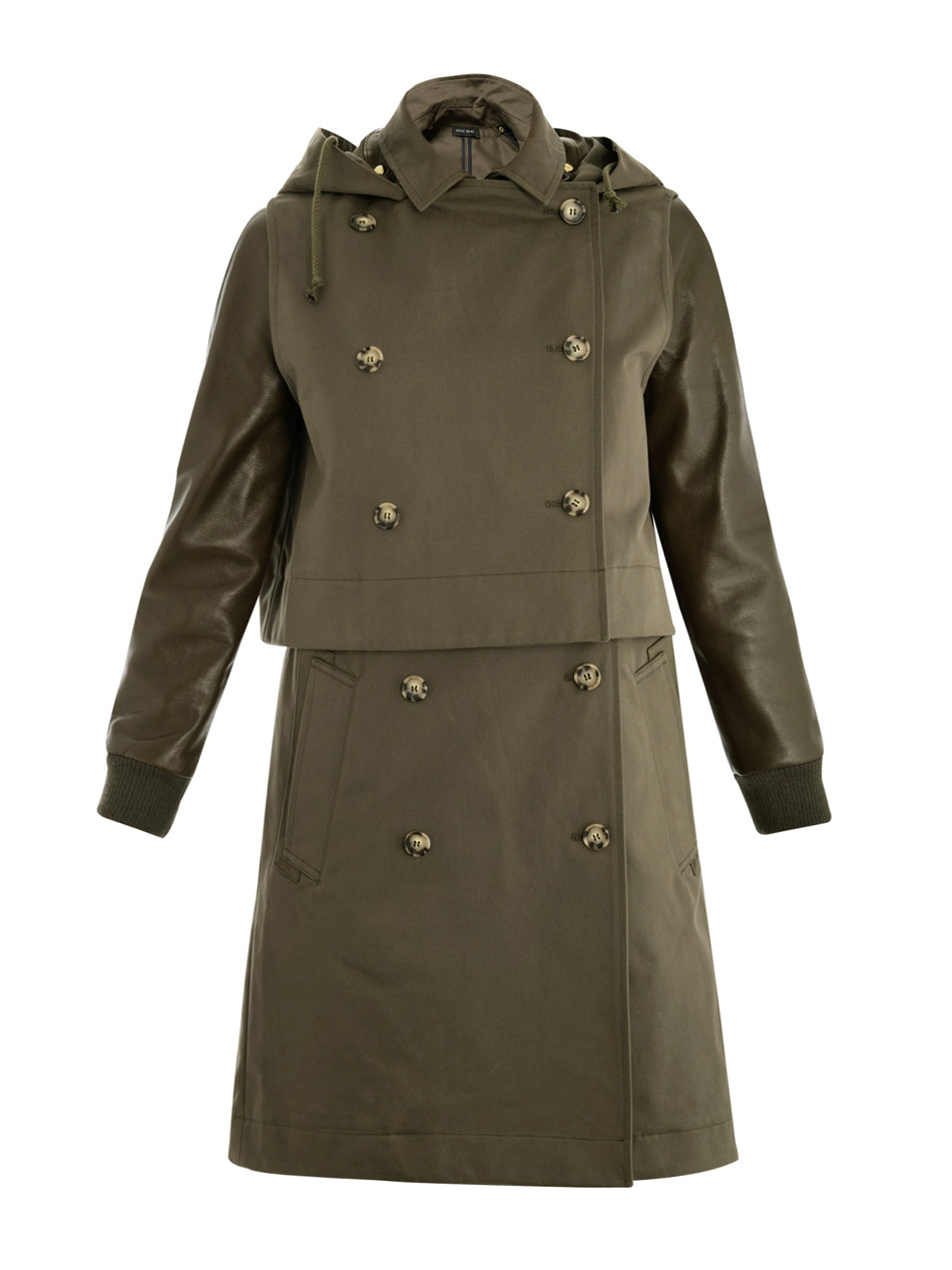 This Burberry Coat Is Absolutely Stunning. Its Such A Unique Dark Shade Called Racing Green. The Sleeves, Pockets And Back Collar Are Trimmed In Leather.