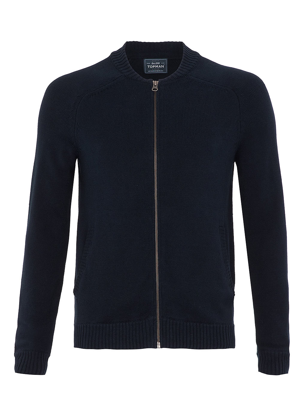 Topman Navy Zip Through Bomber Cardigan In Blue For Men Lyst