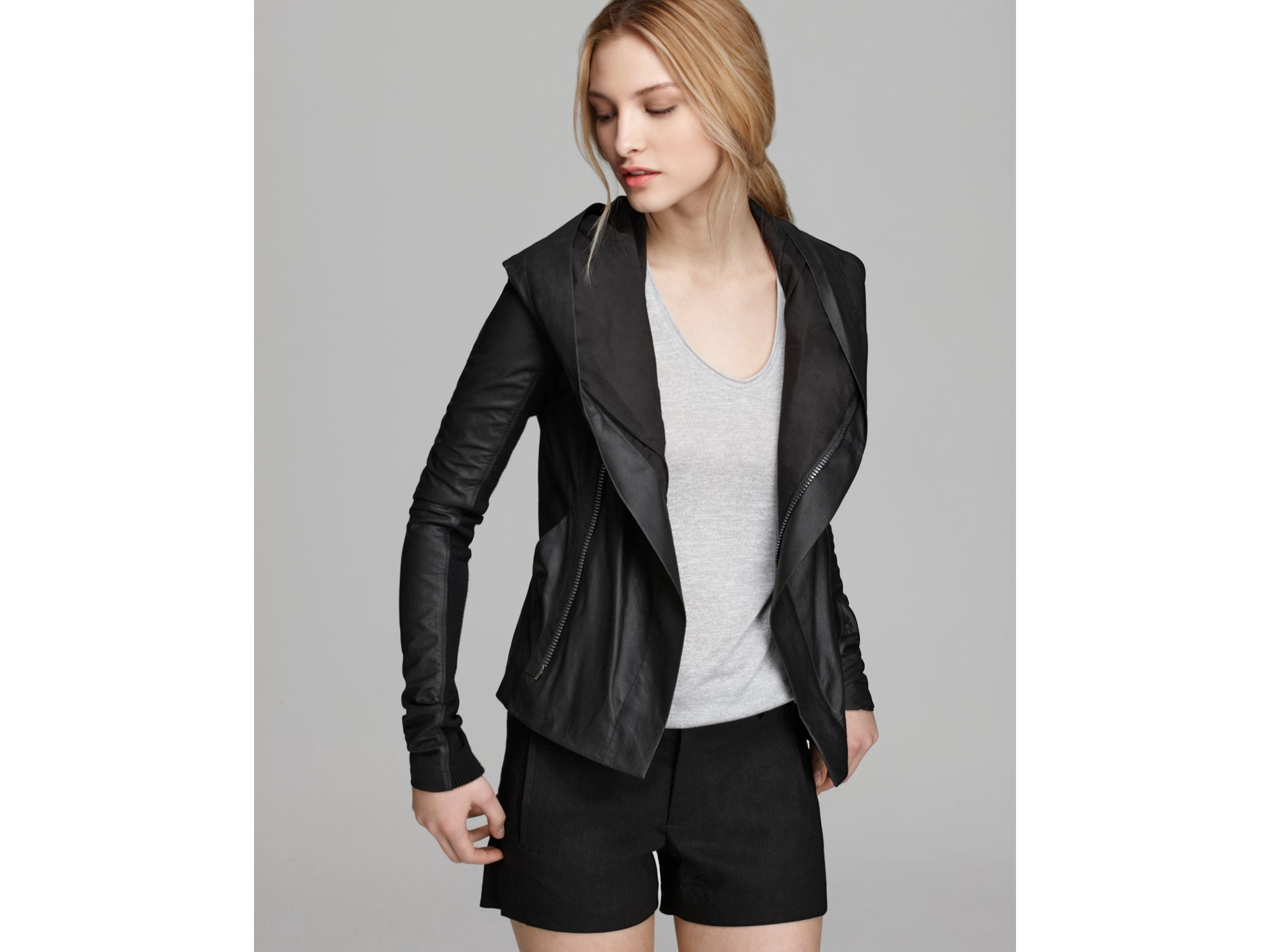 Vince Jacket Paper Leather Hooded In Black Lyst
