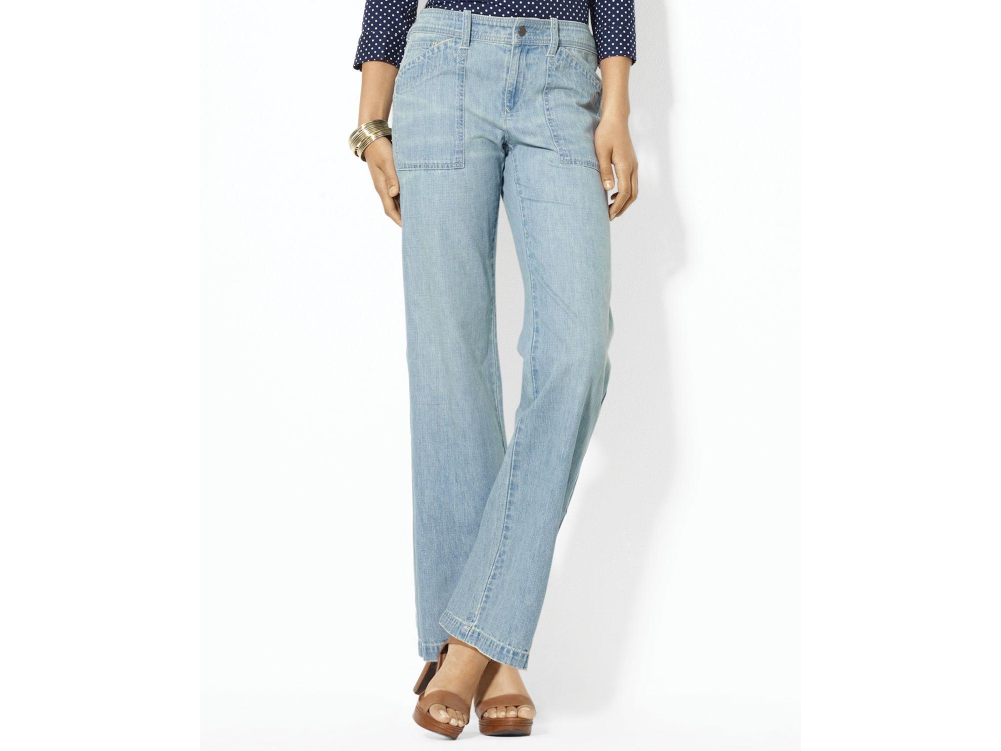 Lauren by ralph lauren Wide Leg Work Wear Jeans in Blue | Lyst