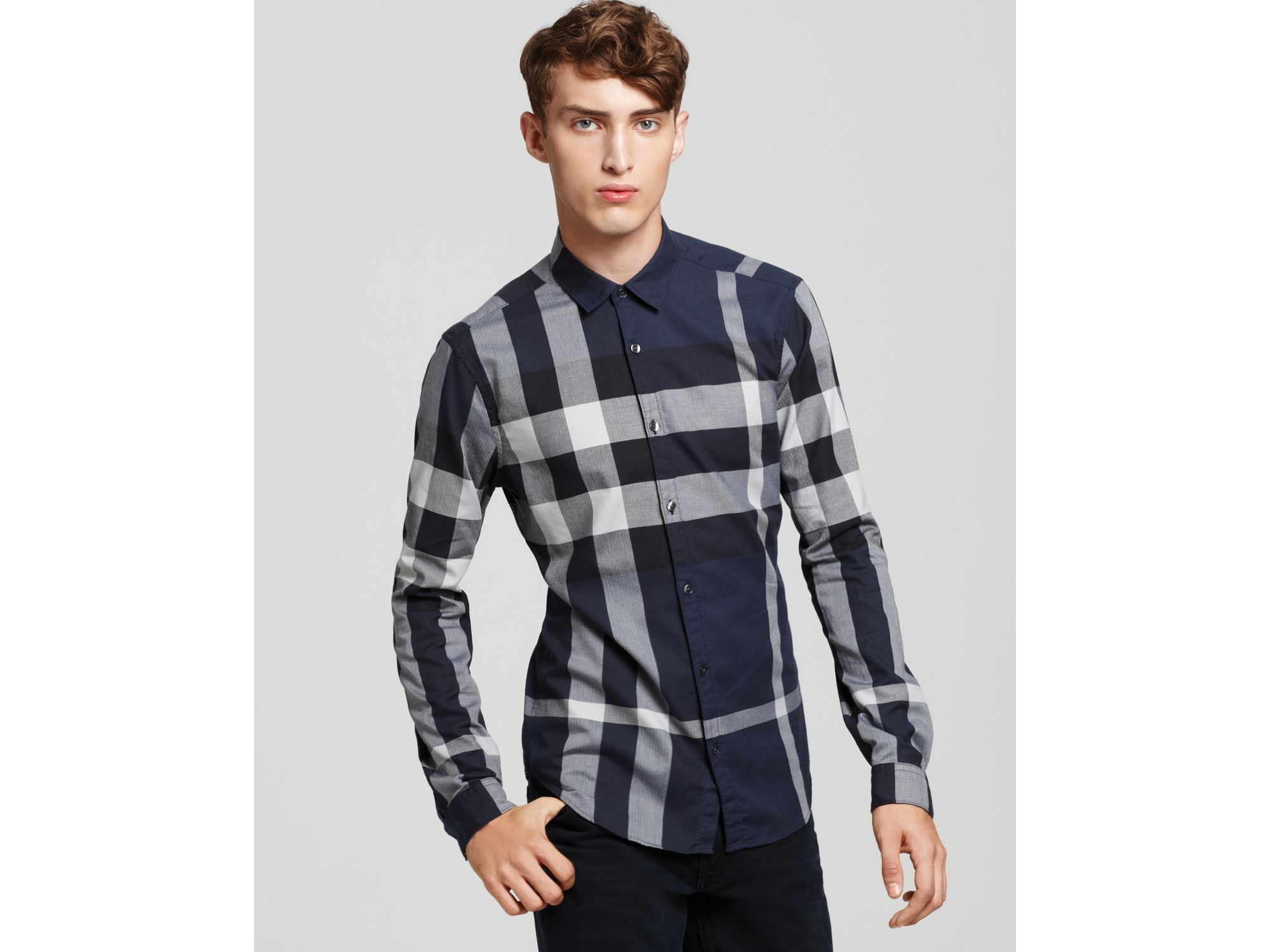 Lyst burberry brit fred exploded check button down for Burberry brit checked shirt