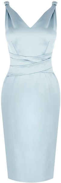 Karen Millen Bow Back Mamma Mia Dress in Blue (aqua)