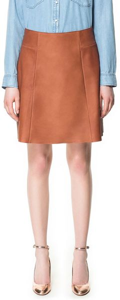 zara flared leather skirt in brown leather lyst
