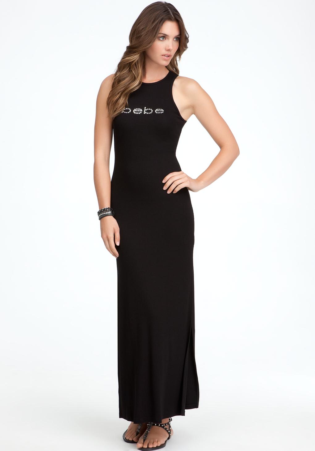 Bebe Logo Yummy Maxi Tank Dress In Black Lyst