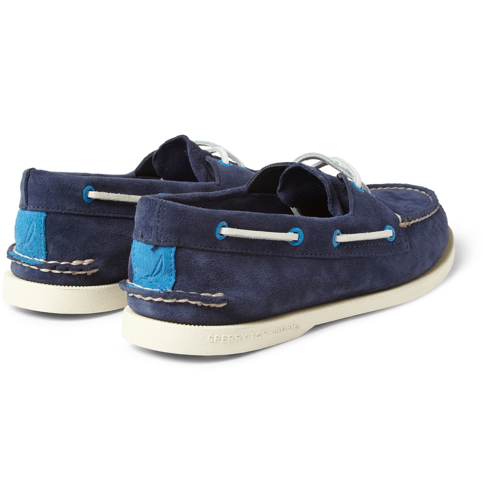 Lyst - Sperry Top-Sider Suede Boat Shoes in Blue for Men