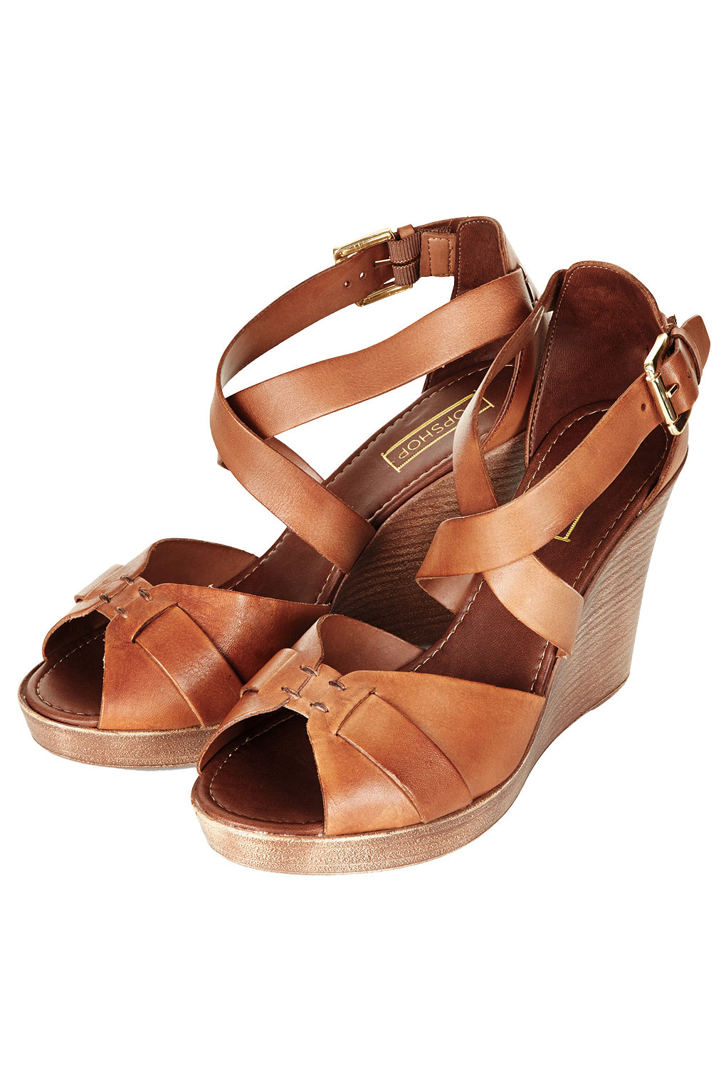 Topshop Whippie Cross Over Wedges In Brown Lyst