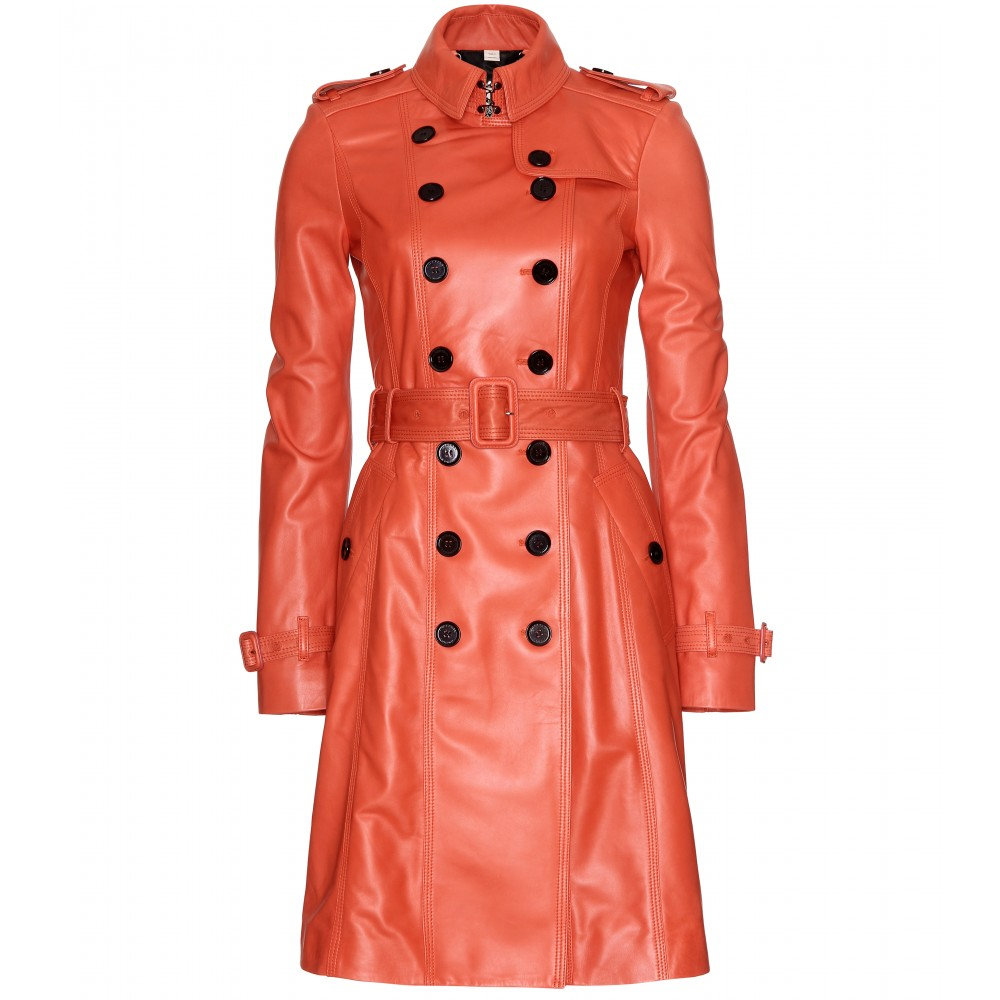 Burberry Elstree Leather Trench Coat in Red