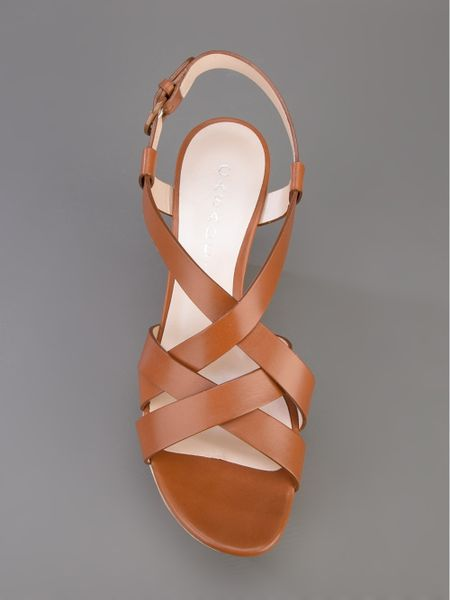 Casadei Patchwood Wedge Sandal In Brown Lyst