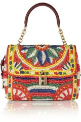 Dolce & Gabbana Miss Dolce Medium Woven Raffia Shoulder Bag