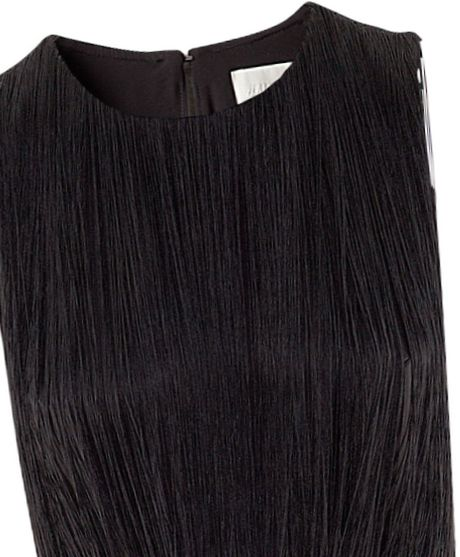 H&m Fringed Dress in Black