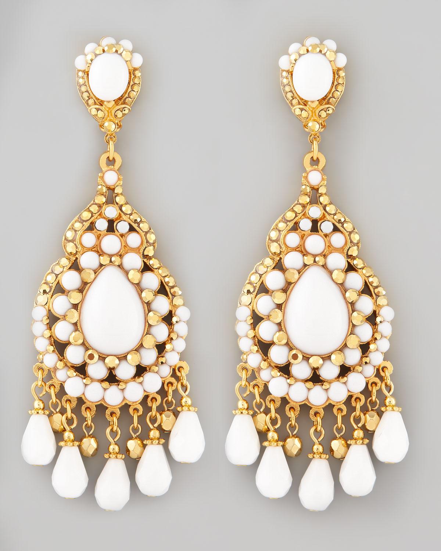 Lyst jose maria barrera beaded chandelier clip earrings in metallic gallery aloadofball Image collections
