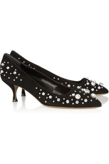Moschino Cheap & Chic Crystalembellished Suede Pumps - Lyst