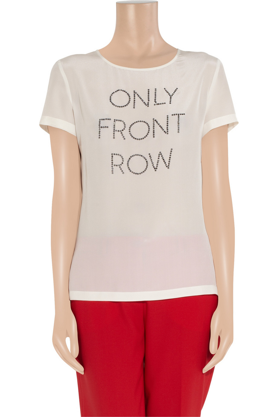 Boutique moschino diamant embellished silk top in white lyst for Boutique tops