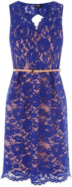 Oasis Rita Lace Dress In Blue Lyst
