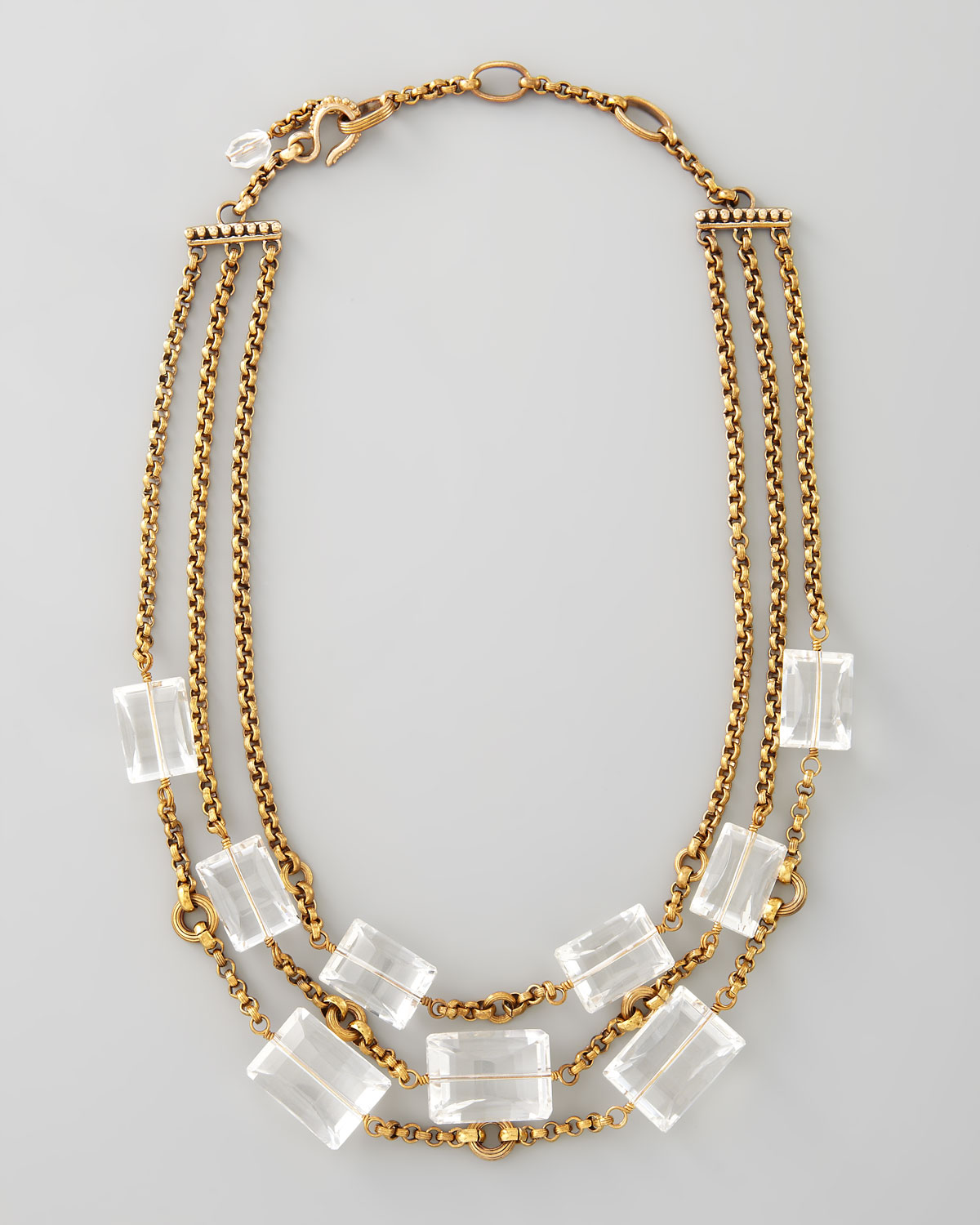 Lyst stephen dweck three strand rock crystal necklace in metallic gallery mozeypictures Image collections