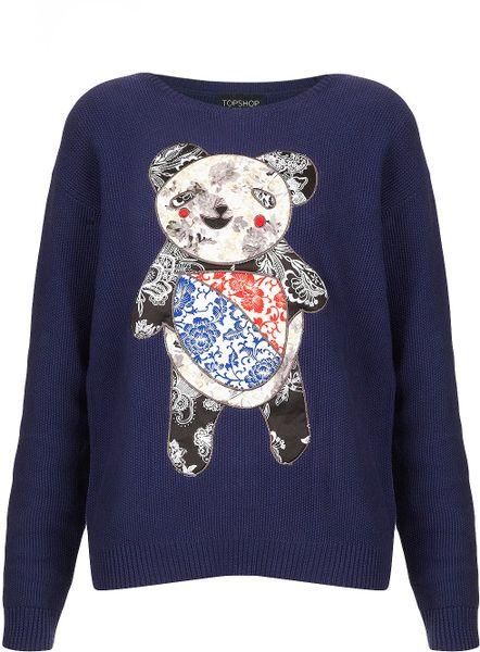 Knitting Pattern Panda Jumper : Topshop Knitted Applique Panda Jumper in Blue (navy blue) Lyst