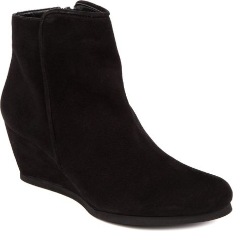 carvela saddle suede wedge boots in black lyst