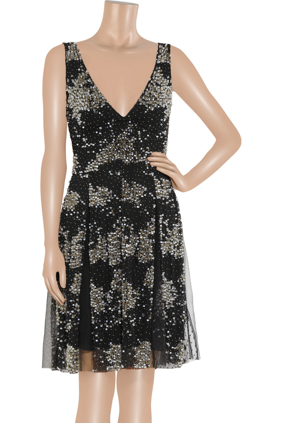 Issa Beaded Georgette Dress In Black Lyst