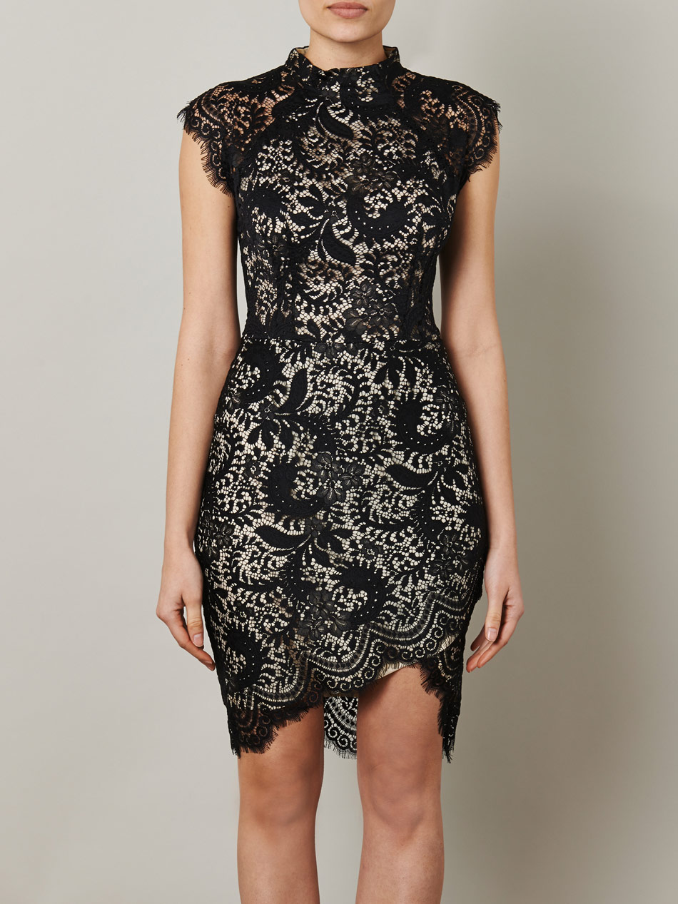 Lover Horizon Shapedhem Lace Dress In Black Lyst