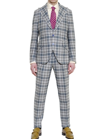 Manuel Vanni Checked Wool Suit in Light Blue/Grey (Blue) for Men