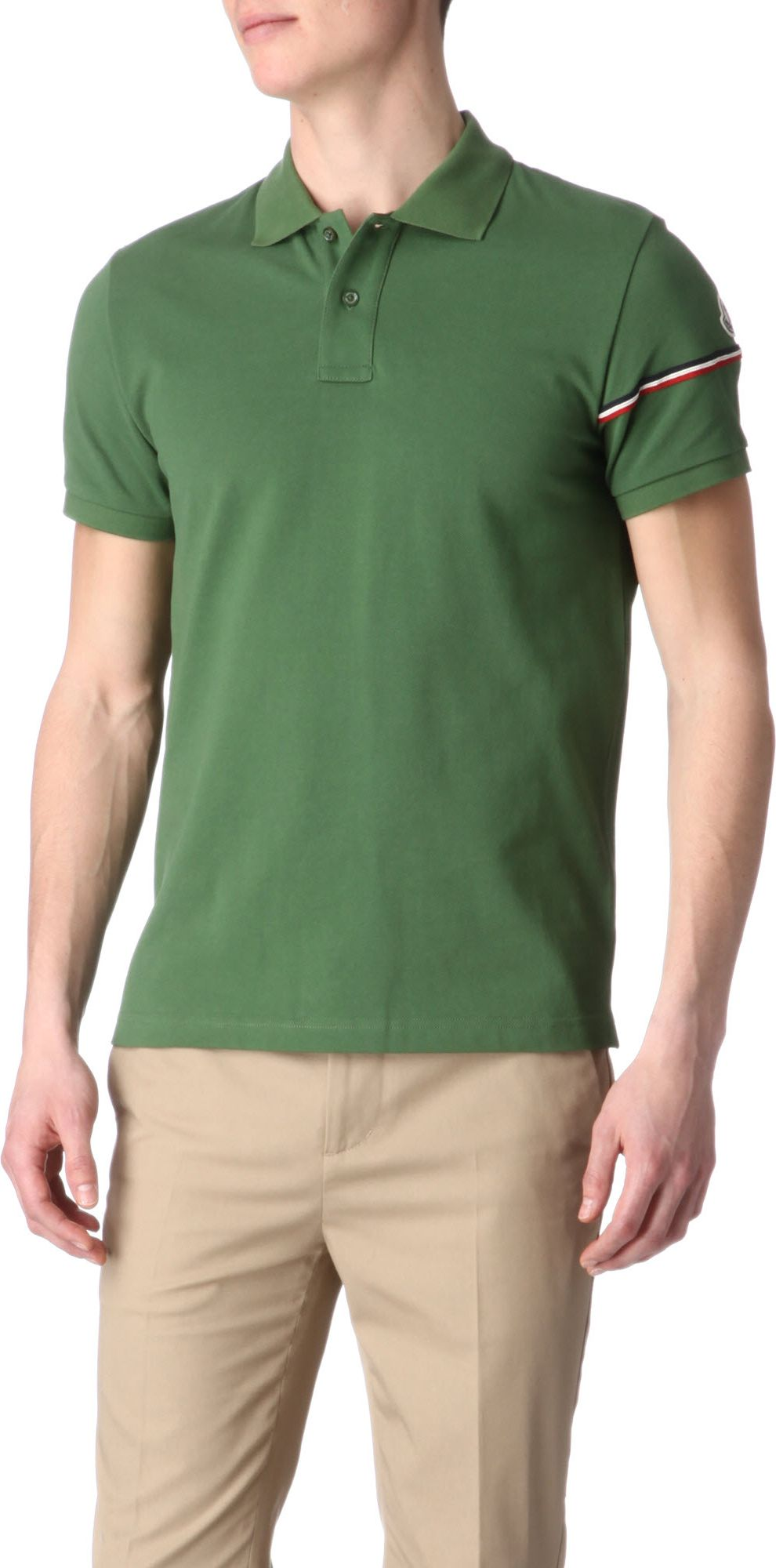 Moncler Stripedarm Polo Shirt In Green For Men Lyst