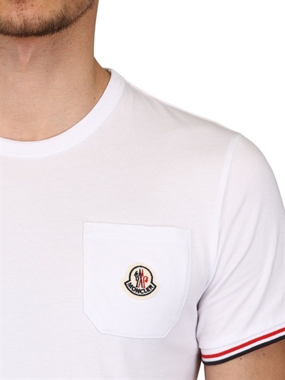 fff3fd89 Moncler Cotton Jersey Pocket T-Shirt in White for Men - Lyst
