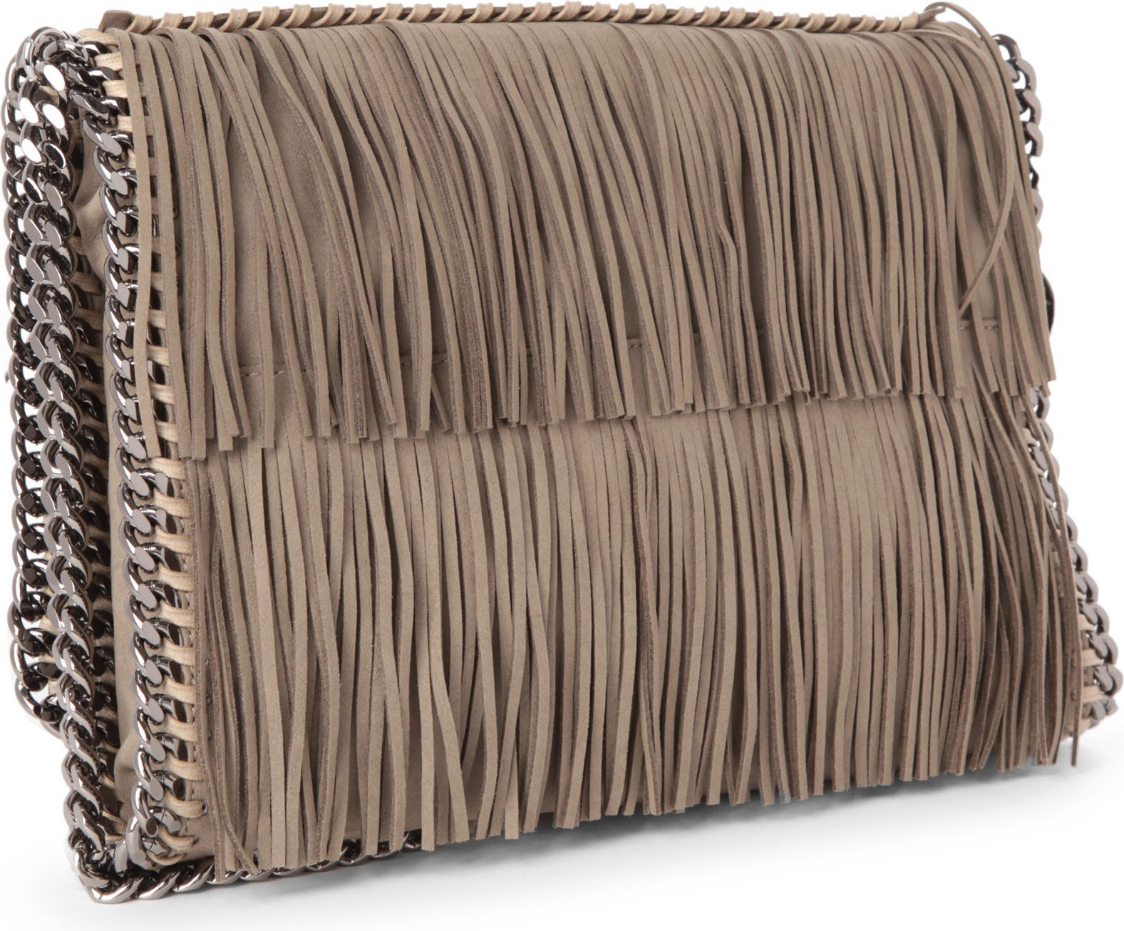 Stella McCartney Falabella Large Fringe Crossbody Bag in Taupe (Brown)