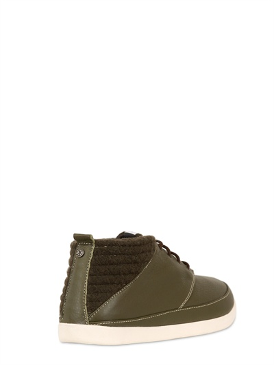Volta Footwear Leather Deck Boots With Wool Inserts In