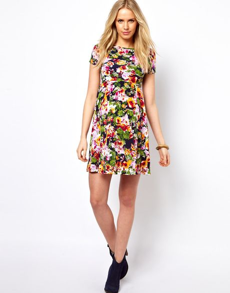 Asos Maternity Printed Floral Skater Dress in Multicolor ...