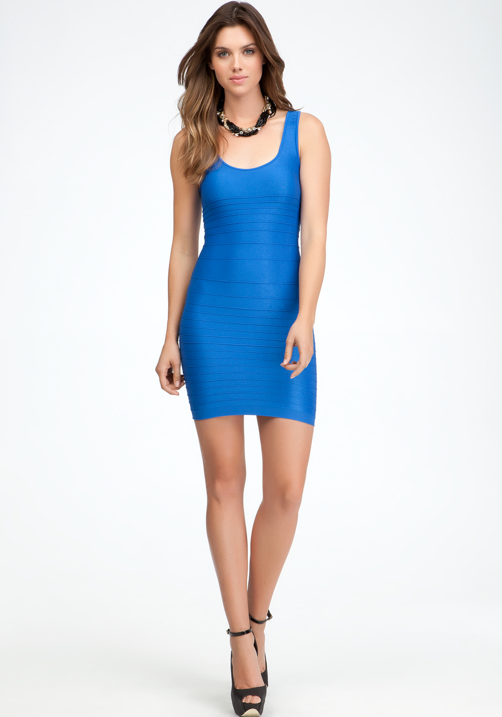 Bebe Back Cutout Shine Bodycon Dress In Blue Lyst