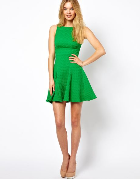 Asos Closet Waffle Jersey Fit And Flare Dress In Green Lyst