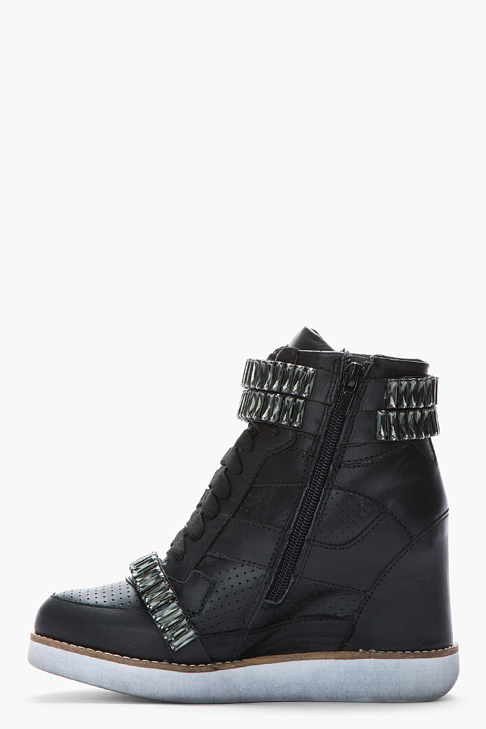 Lyst Jeffrey Campbell Black Leather Crystalaccented Bonn