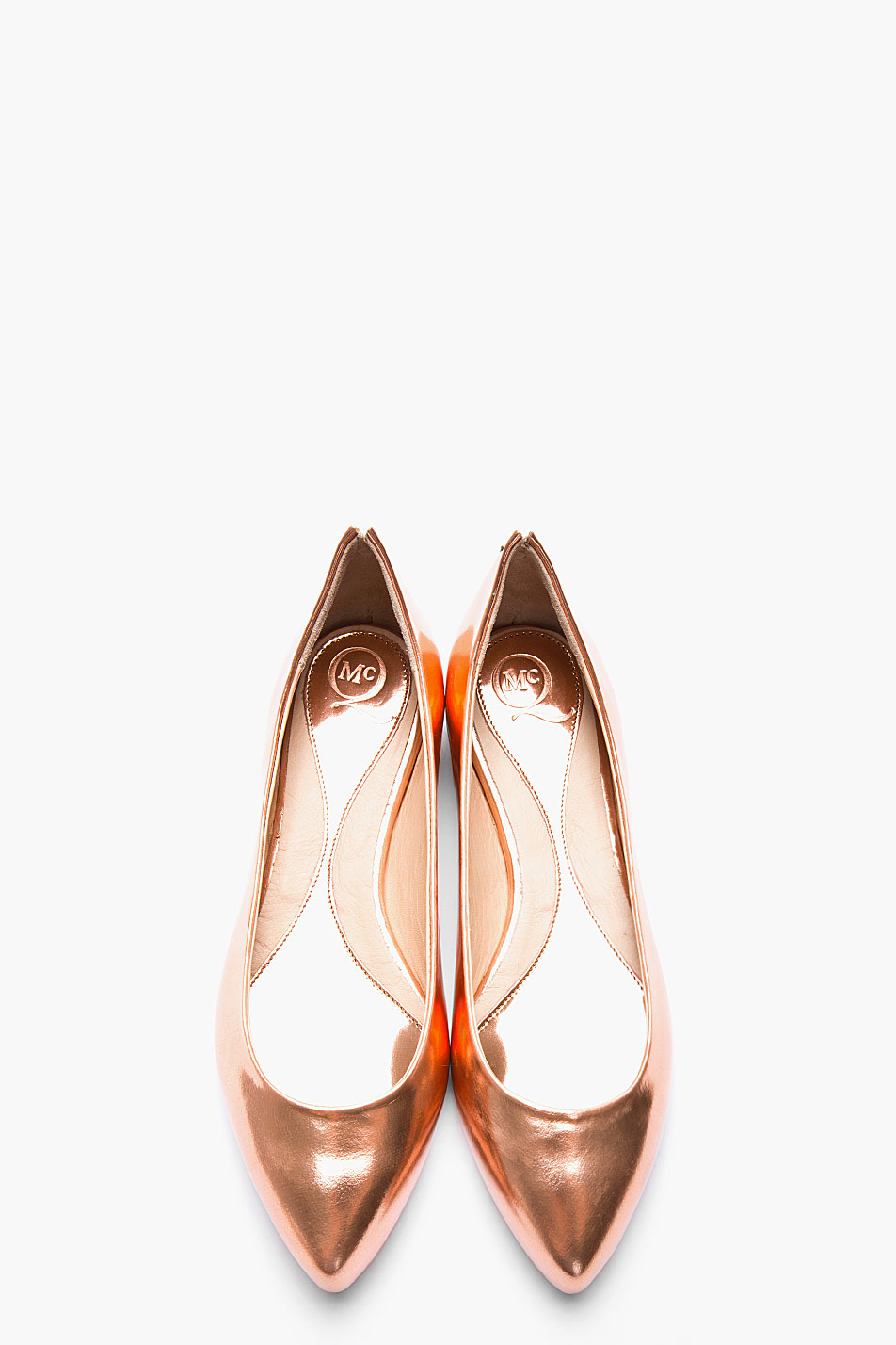 01862aeced42 Lyst - McQ Metallic Rose Gold Leather Pointy Toe Flats in Metallic