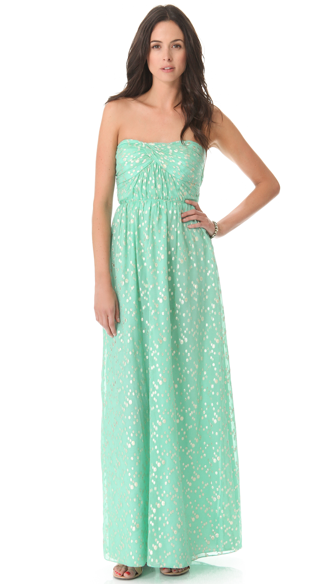 Lyst - Shoshanna Jennifer Strapless Maxi Dress in Green