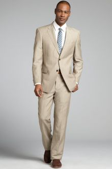 Tommy Hilfiger Tan Pinstripe Woollinen Rains Two button Suit with Flat Front Pants - Lyst