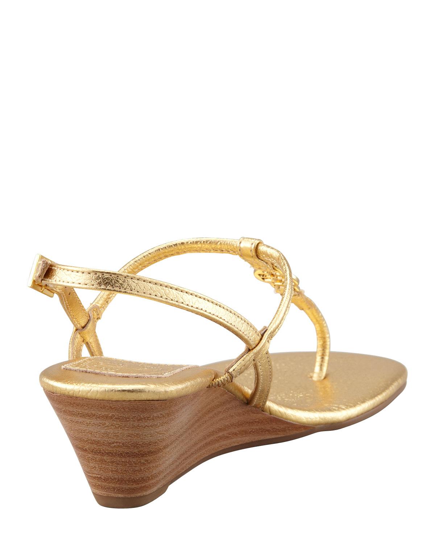2fe4199be Lyst - Tory Burch Emmy Demi Wedge Thong Sandal Gold in Metallic