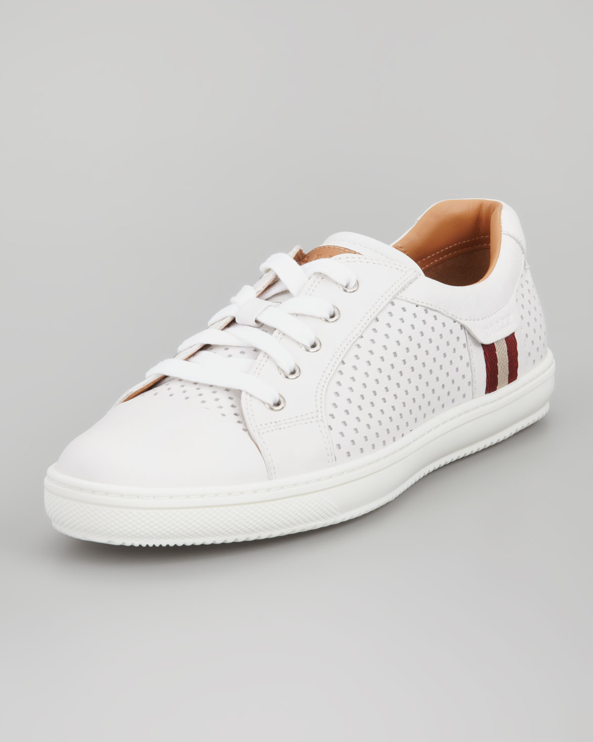 perforated white sneakers