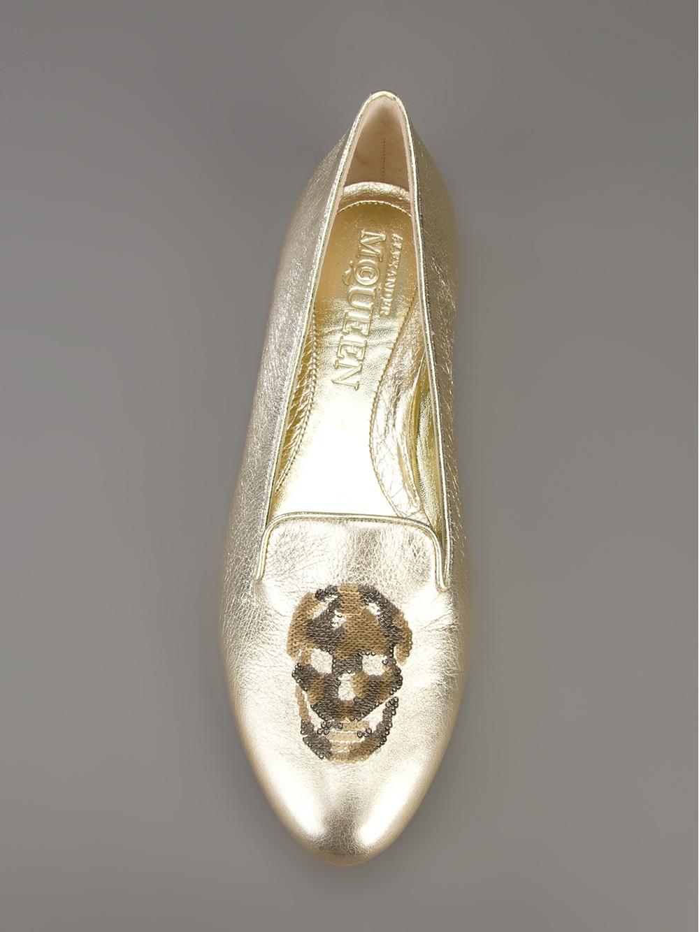Alexander mcqueen Sequin Skull Slippers in Gold