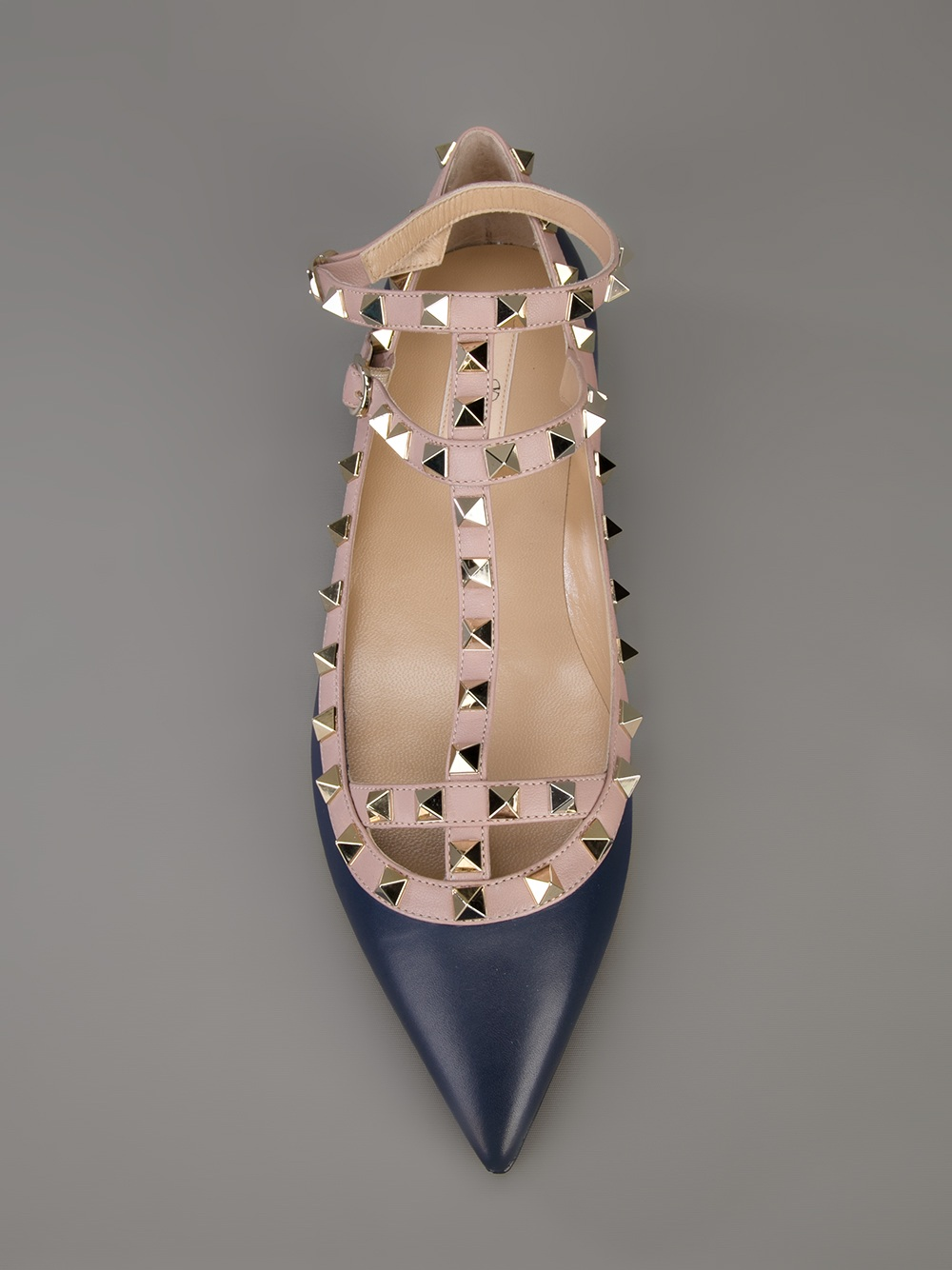 Valentino Rockstud Flat Sandal In Black Navy Lyst