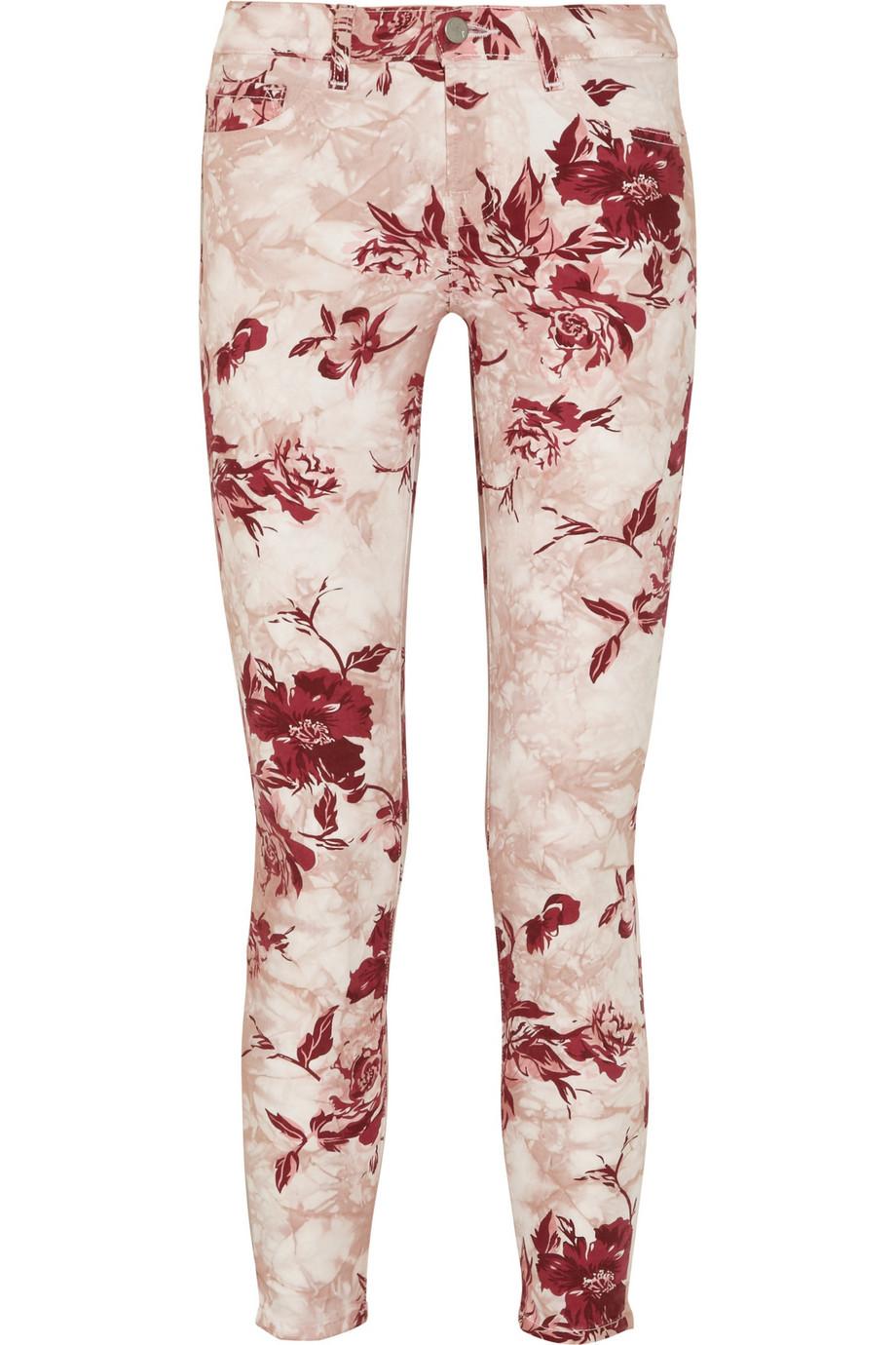 J brand Printed Midrise Skinny Jeans in Pink