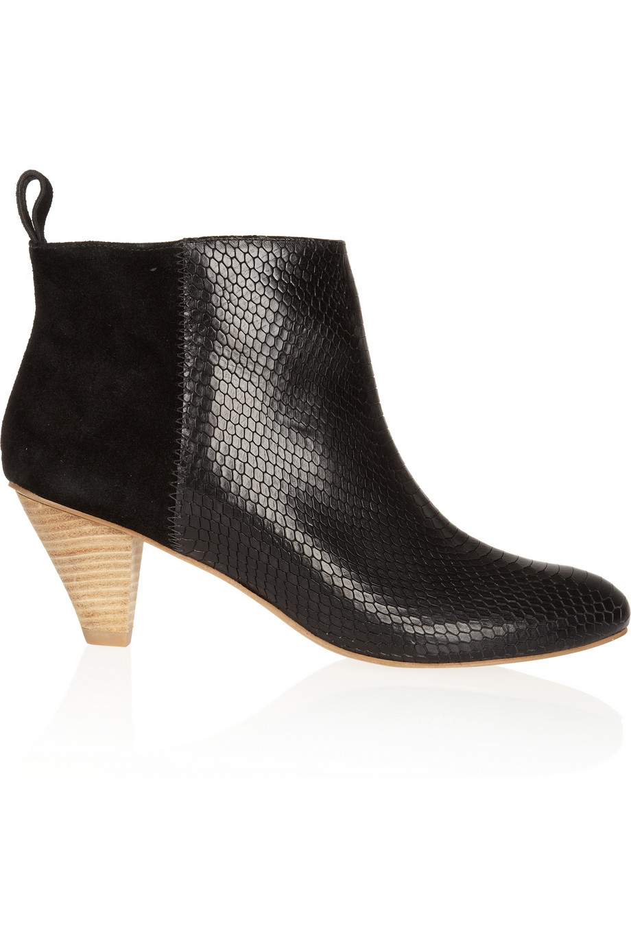 Twelfth Street Cynthia Vincent Garyn Crocodileeffect Leather and Suede Ankle Boots in Black