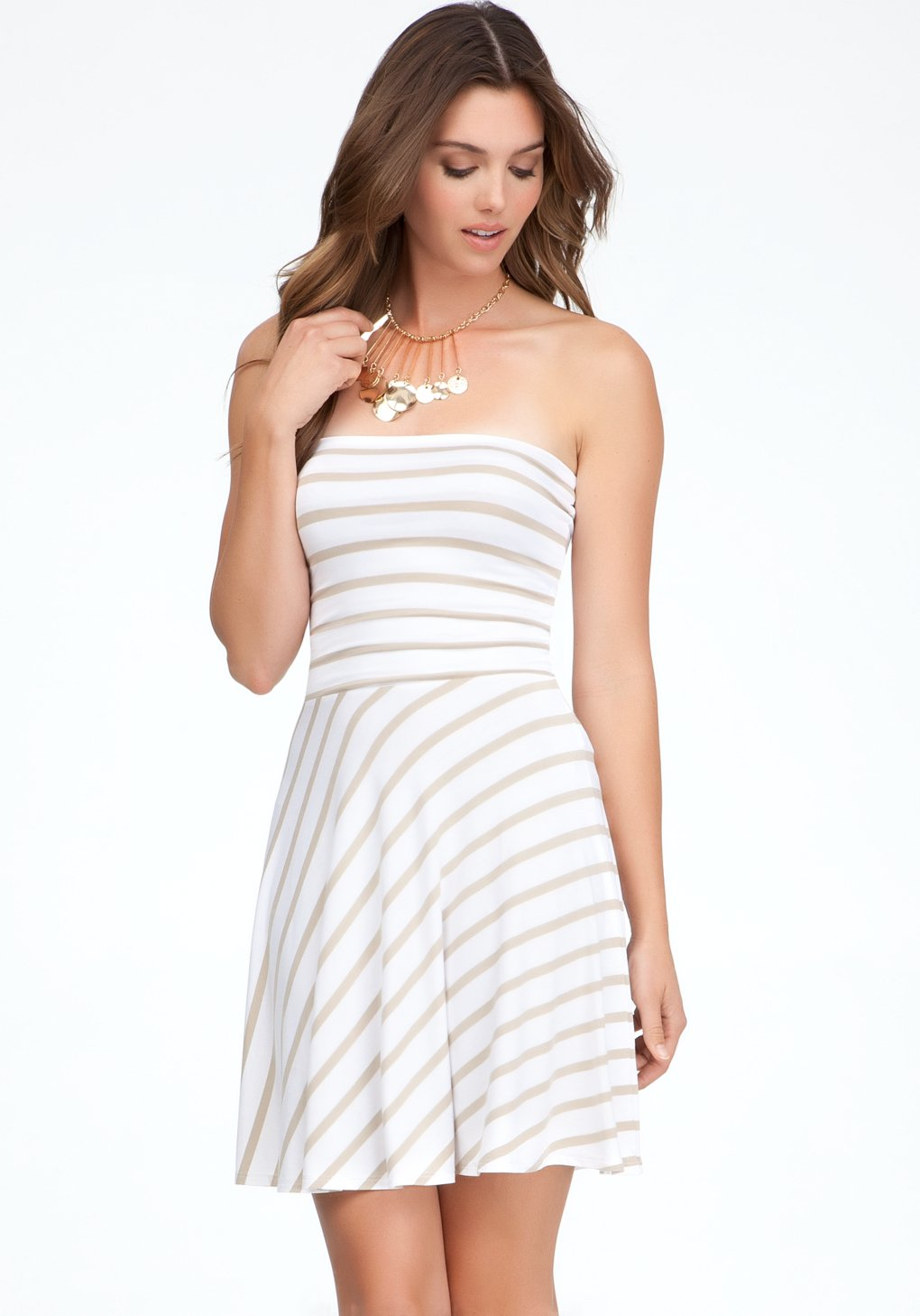 Bebe Strapless Fit Flare Stripe Dress In White Lyst