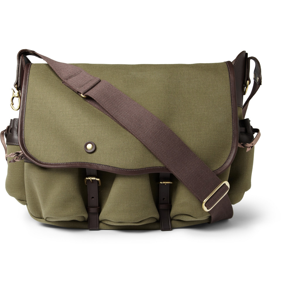 bill amberg canvas and leather messenger bag in green for men lyst. Black Bedroom Furniture Sets. Home Design Ideas