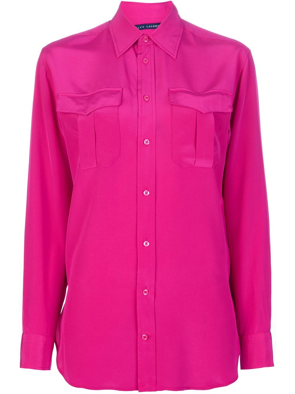 ralph lauren blue label silk blouse in pink lyst. Black Bedroom Furniture Sets. Home Design Ideas