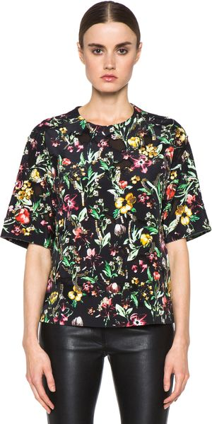3.1 Phillip Lim Faded Botanical Embroidered Tee in Black - Lyst