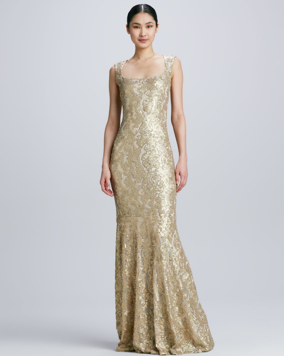 Lyst - David Meister Sleeveless Gown with Lace Overlay in Metallic